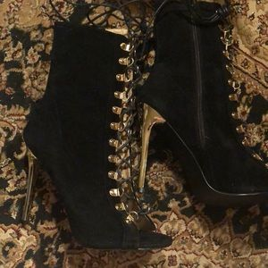 Gold and black lace up open toe heels